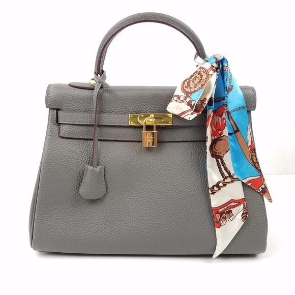 551bdc6a9c90 Ainifeel Bags - Ainifeel Gray Pebbled Leather Padlock Satchel. Ainifeel  Handbags - Ainifeel Gray Pebbled Leather Padlock Satchel